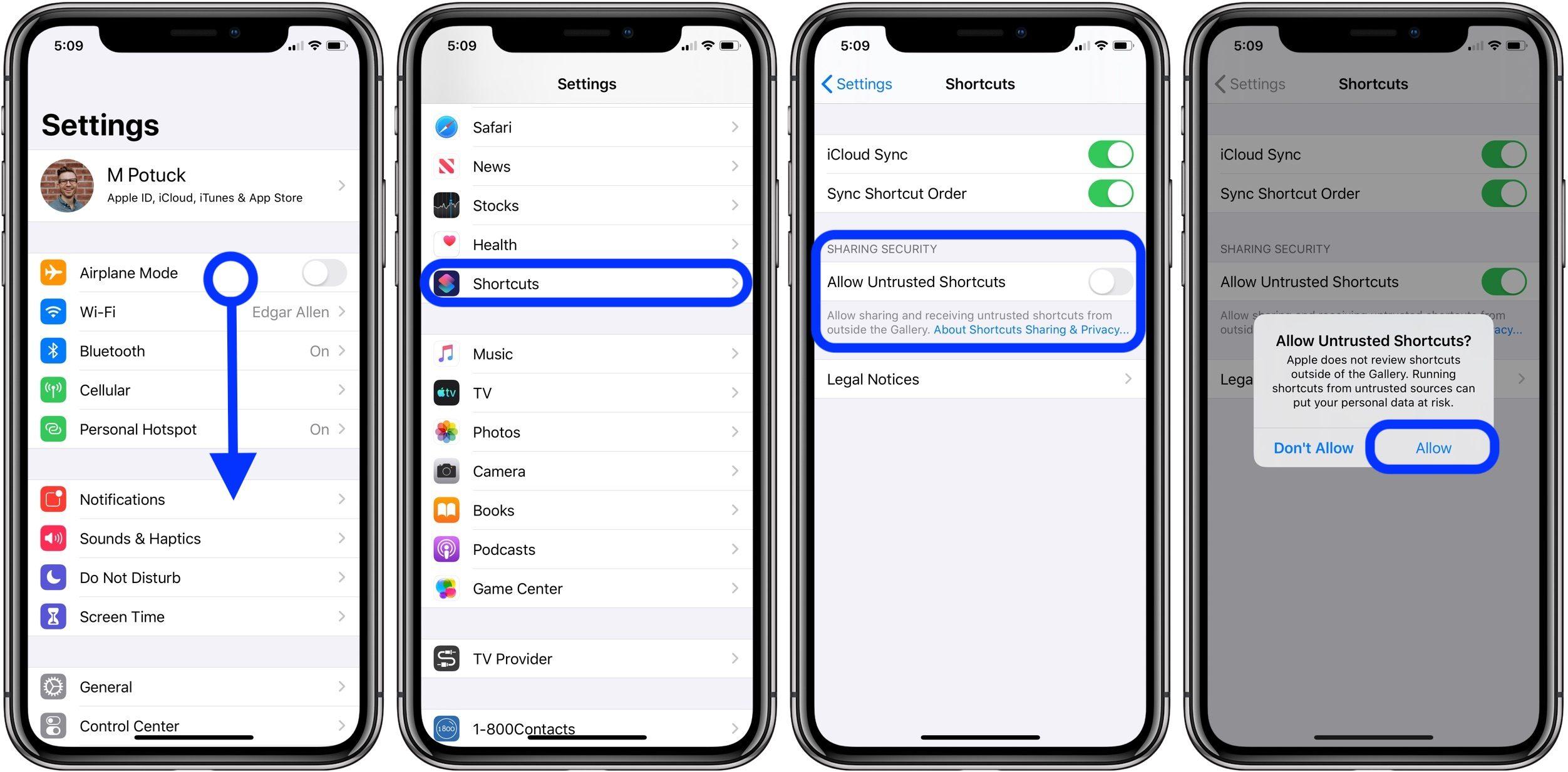 iOS 13:如何在捷径库中添加「不受信任的快捷指令」?